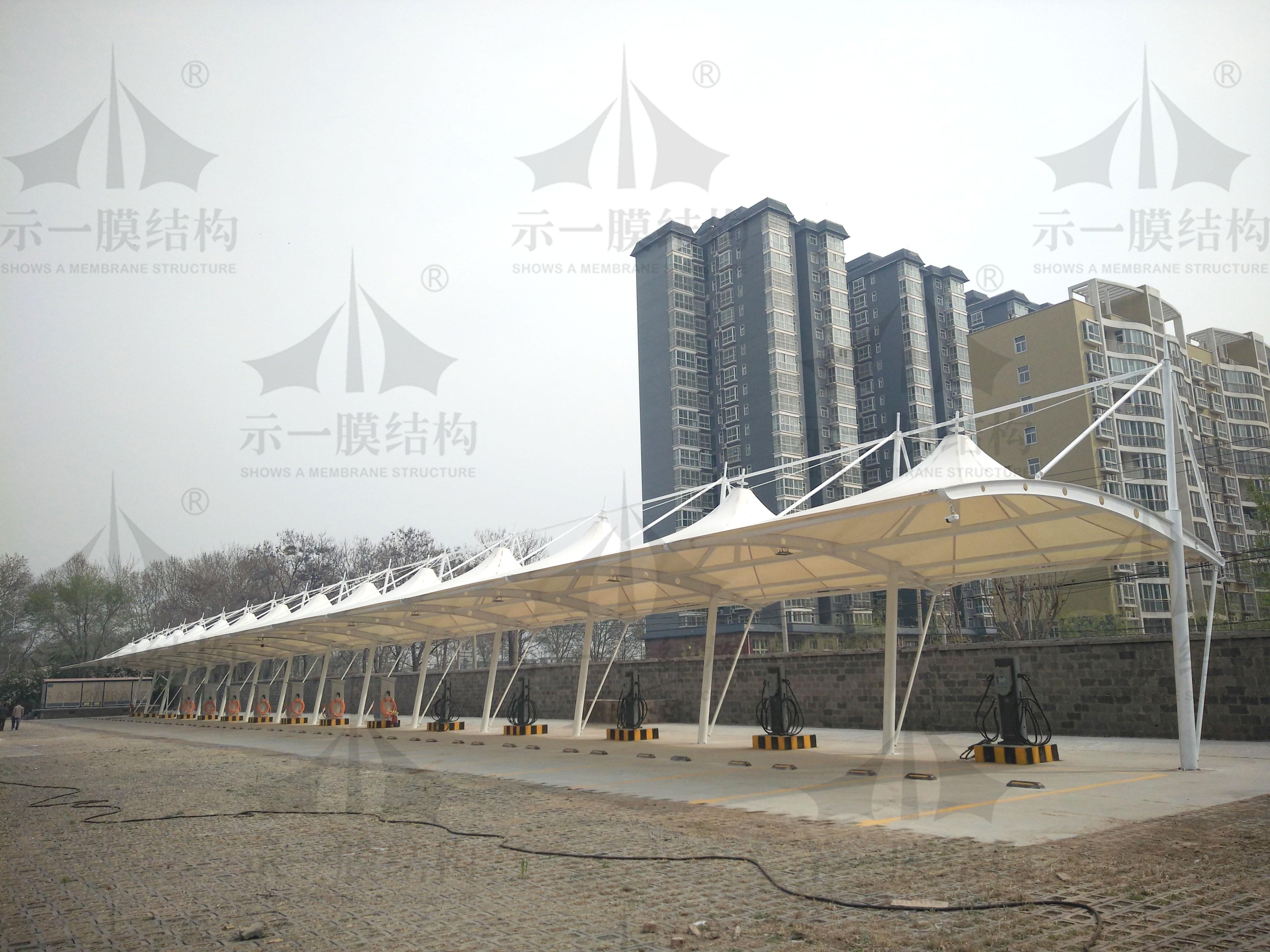 上海示一膜结构安阳公交公司充电桩雨棚
