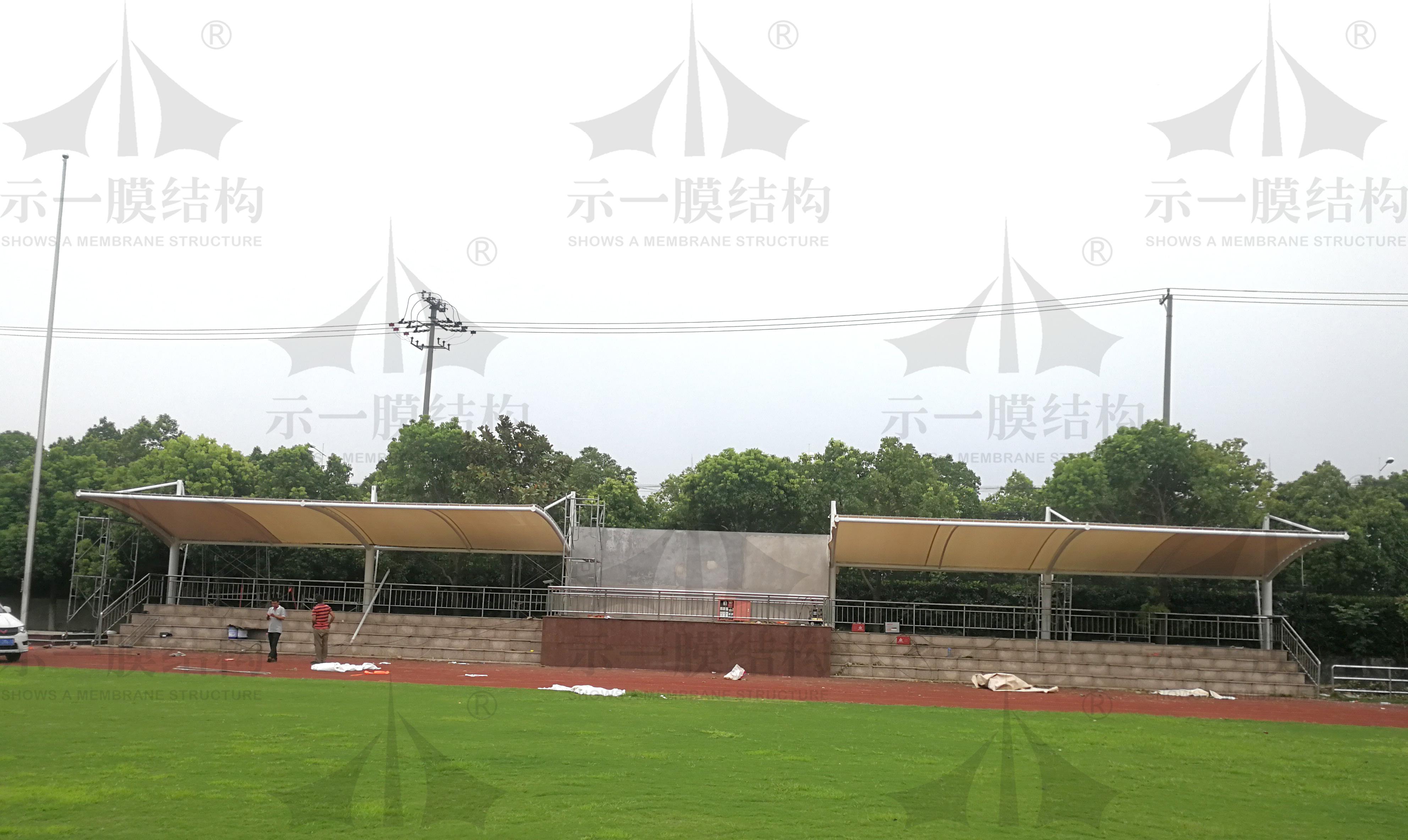 上海示一膜结构上海宝山中学体育看台膜结构
