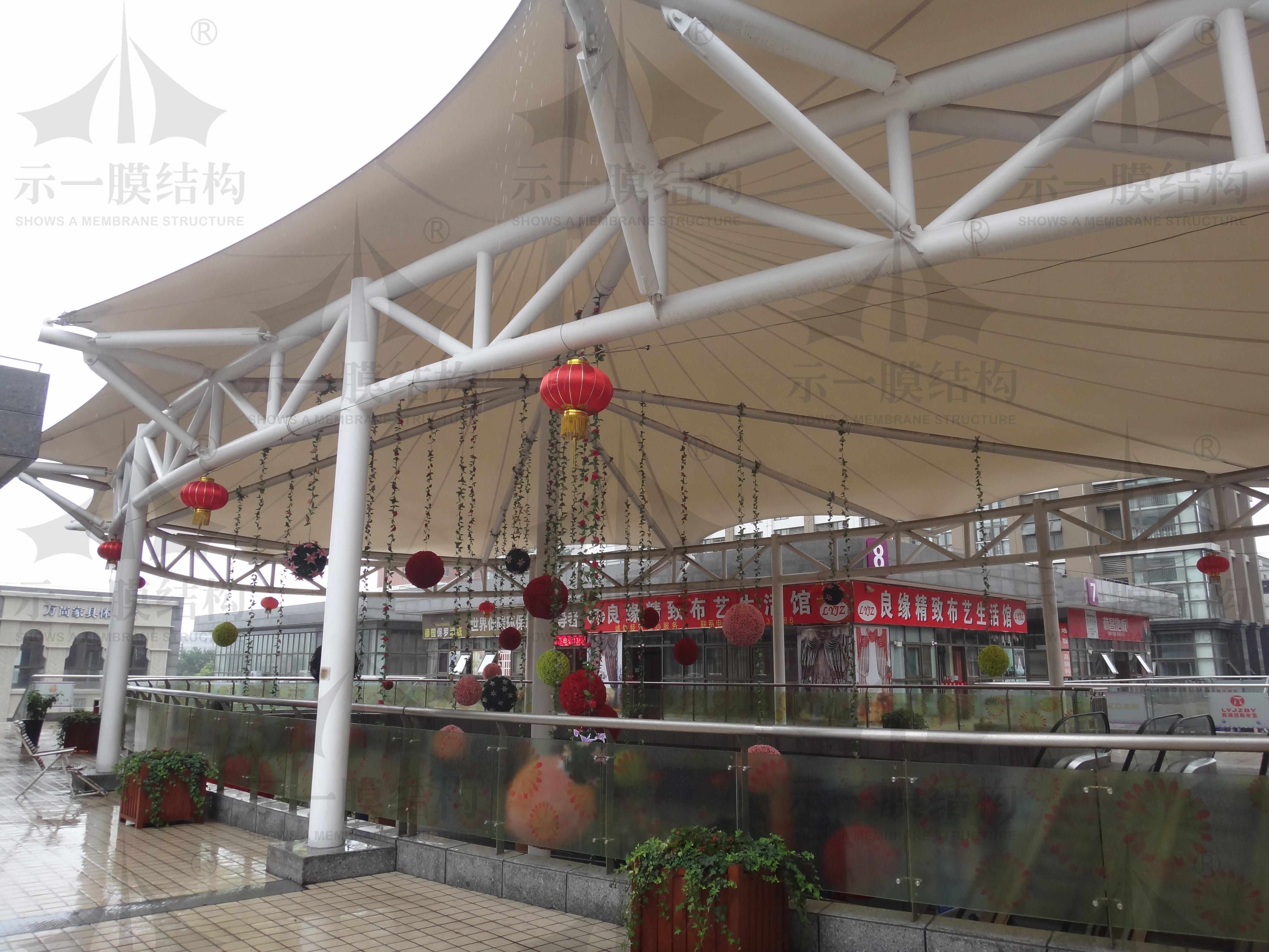 上海示一膜结构松江福都家居生活广场膜结构雨棚