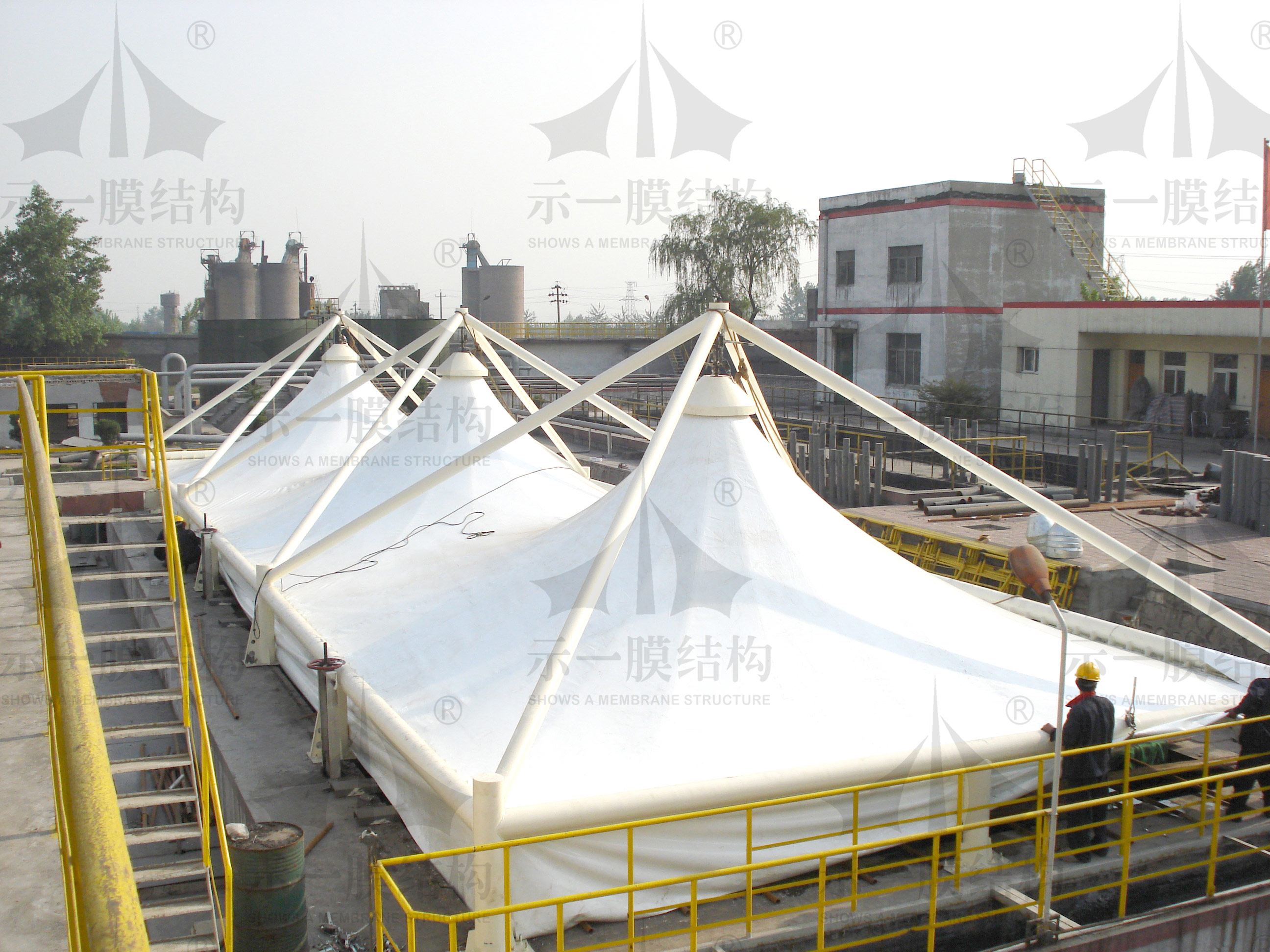 上海示一膜结构山西三维污水池膜加盖环保工程