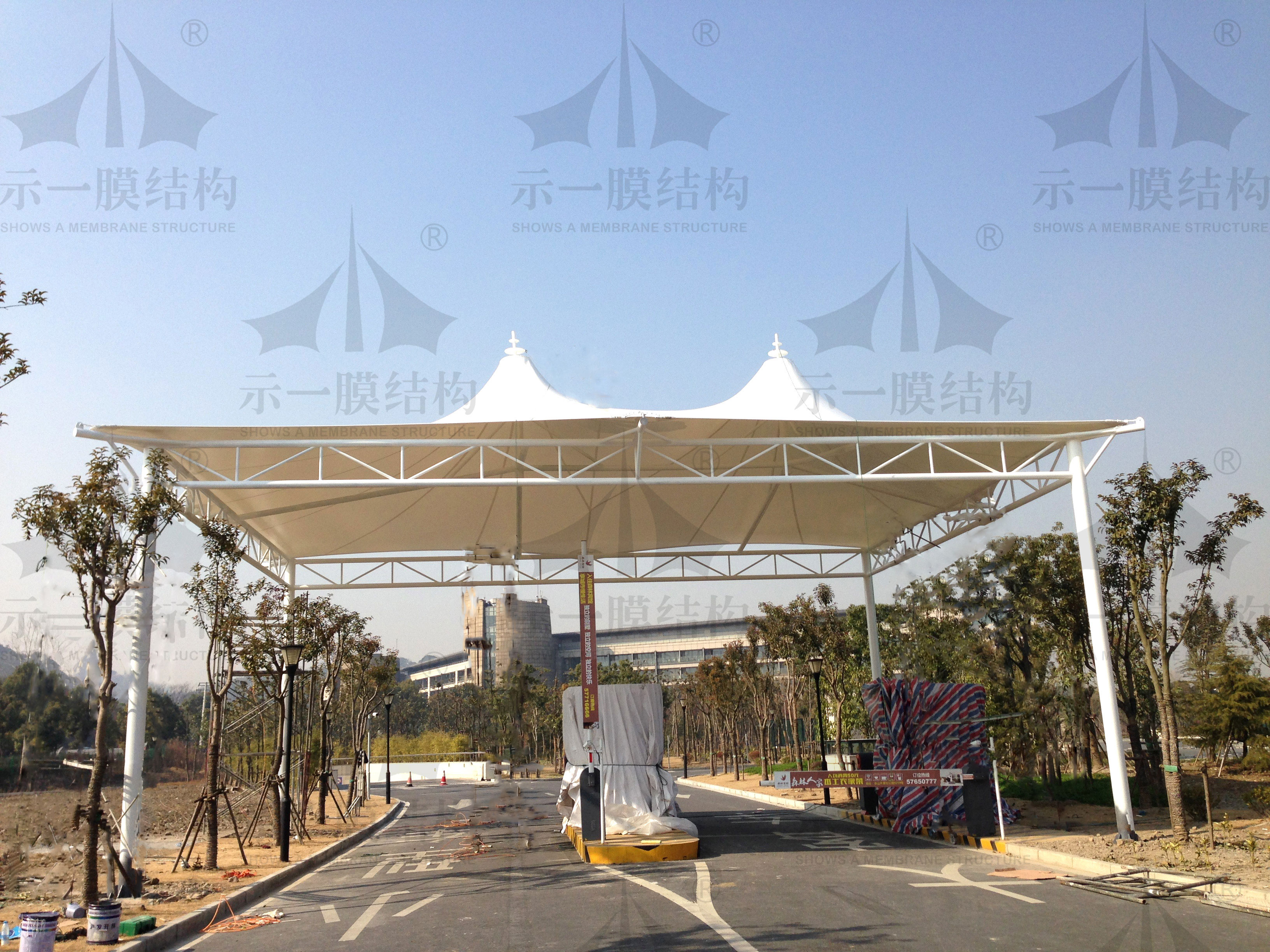 上海示一膜结构松江月湖公园膜结构雨棚