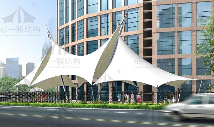 上海示一膜结构帽顶张拉膜结构遮阳棚