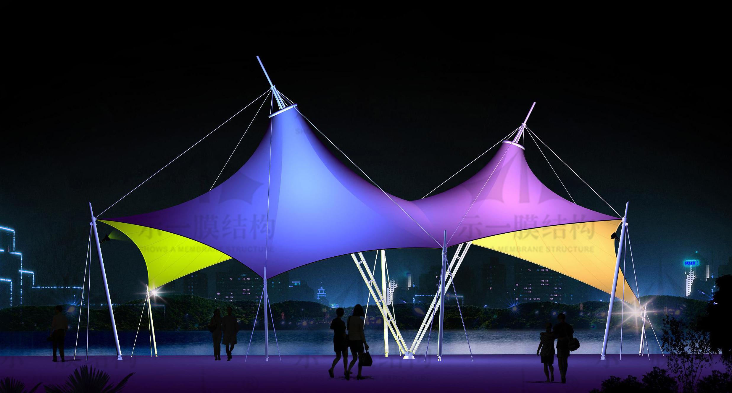 上海示一膜结构景观张拉膜标志小品