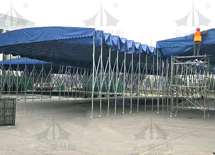 上海示一膜结构厂区移动推拉遮阳棚