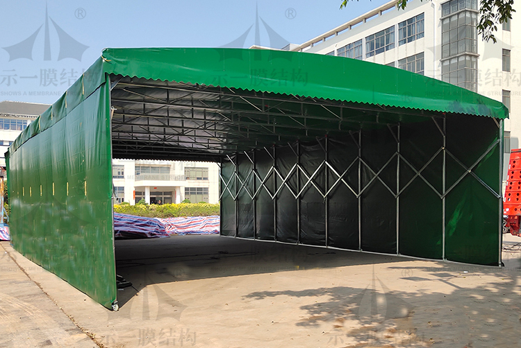 上海示一膜结构厂区临时仓库推拉棚