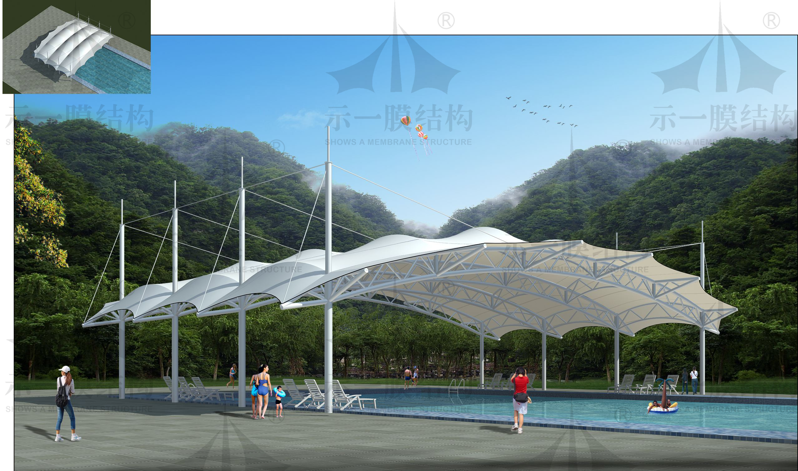 上海示一膜结构游泳池膜结构遮阳棚