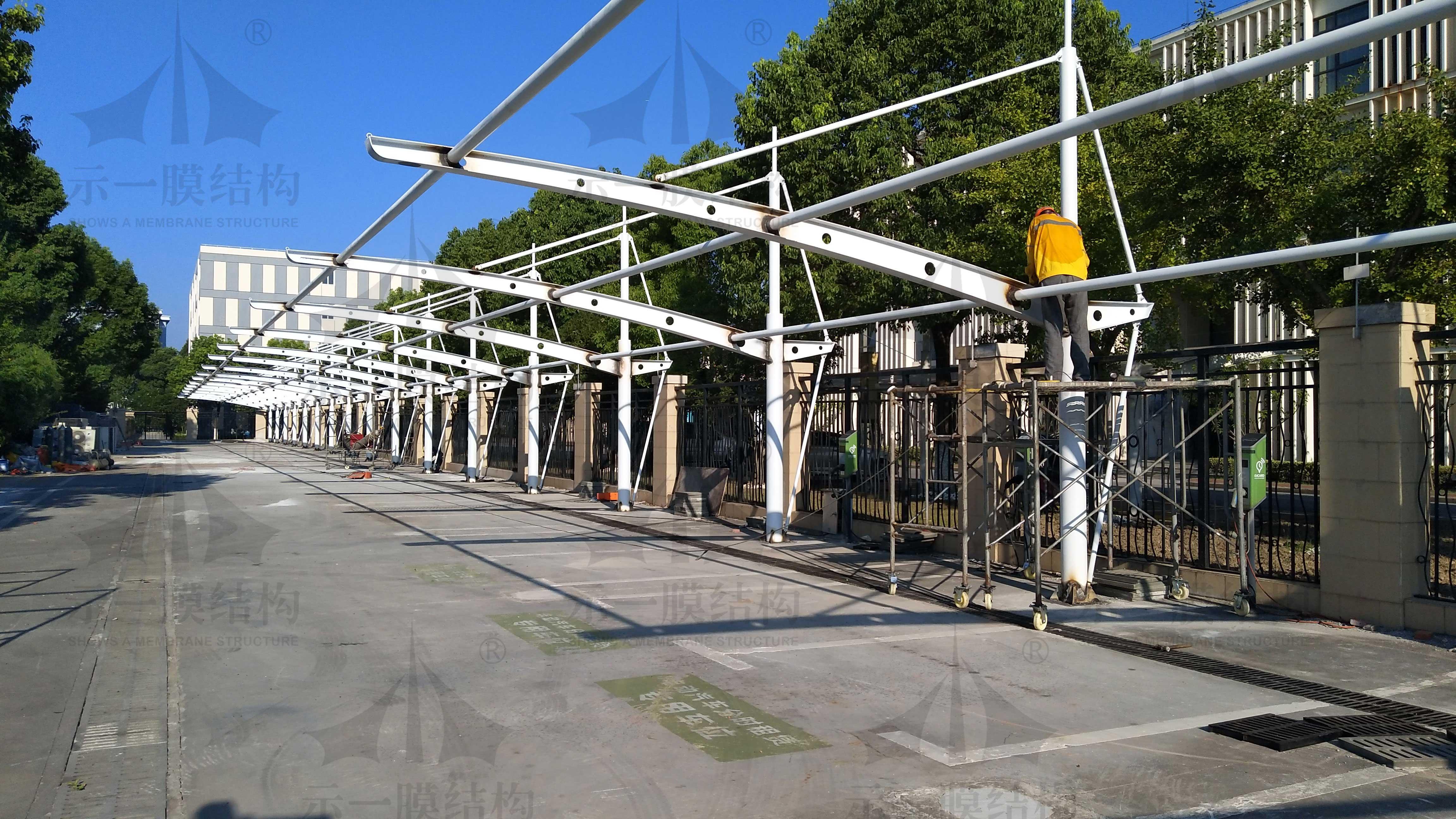 嘉定教育局膜结构车棚 尺寸修改